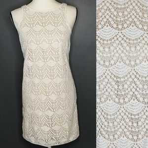 LOFT Ann Taylor White lace Sheath Dress 00